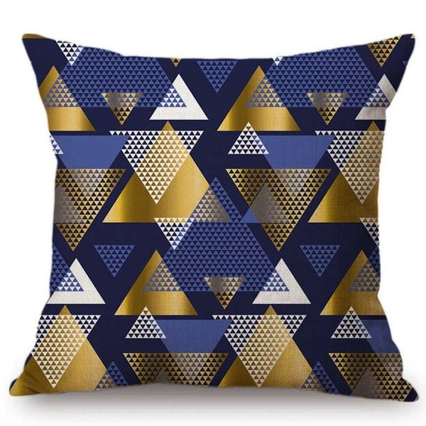 Blue and Gold Geometric Sofa Decorative Pillow Case Scandinavian Cotton Linen Modern Luxury Metal Geometry Chair Cushion Cover