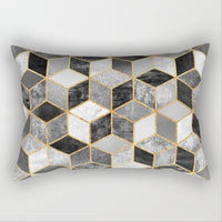 BAOLIFU Soft Velvet Geometric Cushion Cover 30x50cm Marble Pillow Cover Bedroom Sofa Decoration Pillow Cases