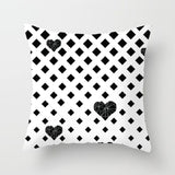 ZENGIA Geometric Cushion Cover Black and White Polyester Throw Pillow Case Striped Dotted Grid Triangular Geometric Art Cushion