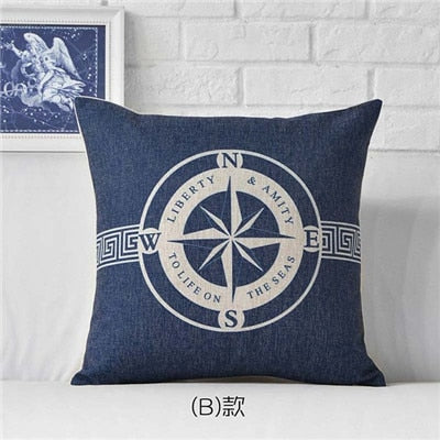 Coussin ScandinaOcean Sea Ship Anchor Blue Stripe Compass Boat Cushion Cover Cotton Linen Pillow Case Home Sofa Decoter Cojines