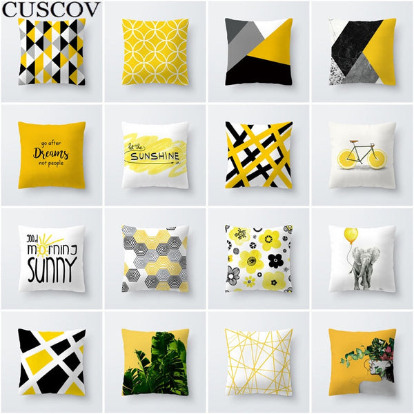 Best selling simple fashion geometric leaves yellow polyester sofa cushion cover hug pillowcase soft polyester pillowcase