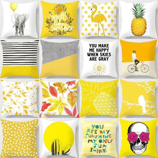 Yellow Peach Skin Cushion Cover Pineapple Flowers Flamingo Letters Abstract Pattern Home Decor Sofa Decorative Pillowcases 45x45