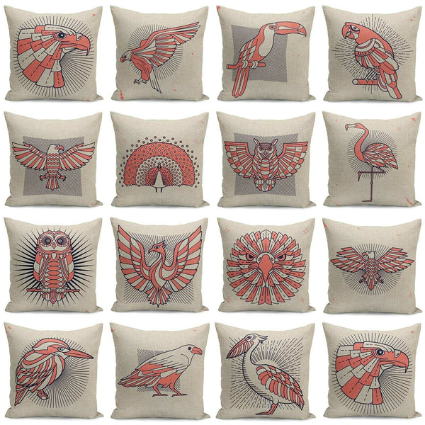 "18"" Geometric Bird Pattern Home Decor Throw Pillow Case Sofa Cushion Cover"