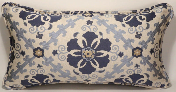 "1 14"" by 26"" Oblong Floral Blue & Cream Handmade Decorative Throw Pillow Cover"