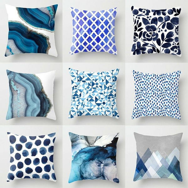 "18"" Blue Abstraction Pattern Cushion Covers Pillow Cases Geometric Sofa Decor"