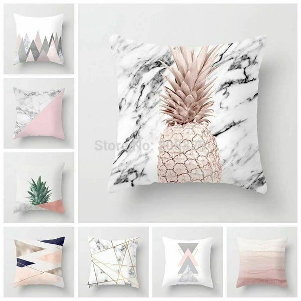 1 Pc Pink Geometric Nordic Cushion Cover Tropic Pineapple Throw Pillow Polyester