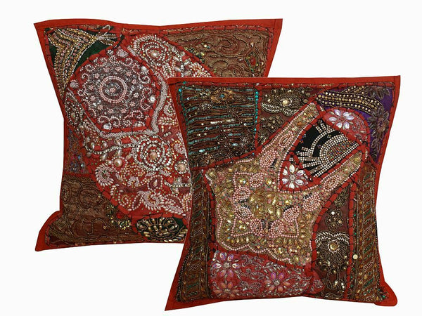 "16"" Red Cushion Cover Cotton Stone Patchwork Handmade Indian Ethnic Decor Pillow"