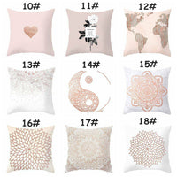 "18"" Pink Rose Gold Geometric Square Sofa Pillow Case Cushion Cover Home Decor"
