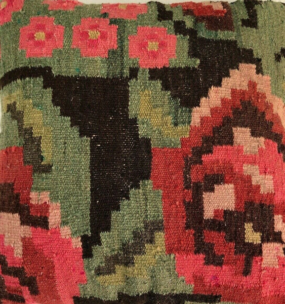 "16x16"" Kilim Pillow~Cushion Cover Turkish Handmade Vintage~Pink~Red~Greens~Brown"