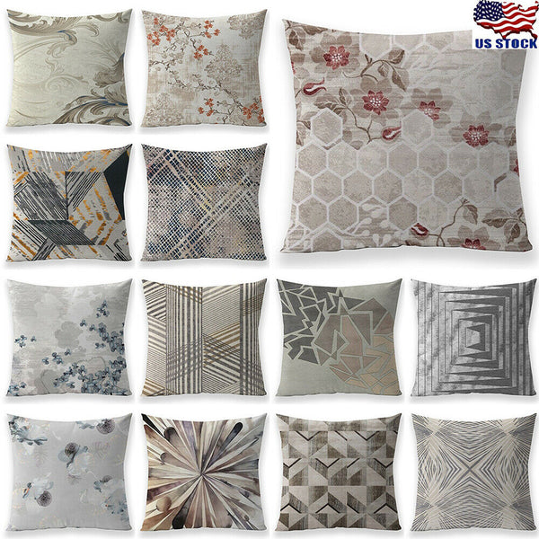 18 Inch Grey Geometric Pattern Pillow Case Sofa Car Cushion Cover Home Decor US