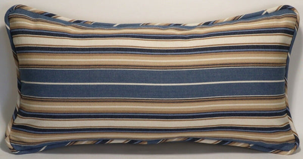 "1 12"" by 24"" Blue Cream and Tan Stripe Handmade Decorative Throw Pillow & Form"