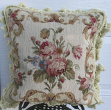"16"" x 16"" Floral Roses Handmade Wool Needlepoint Cushion Cover Pillow Case"