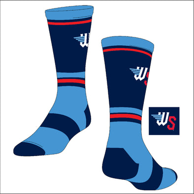 LOGO STRIPED CREW SOCK-Light Blue