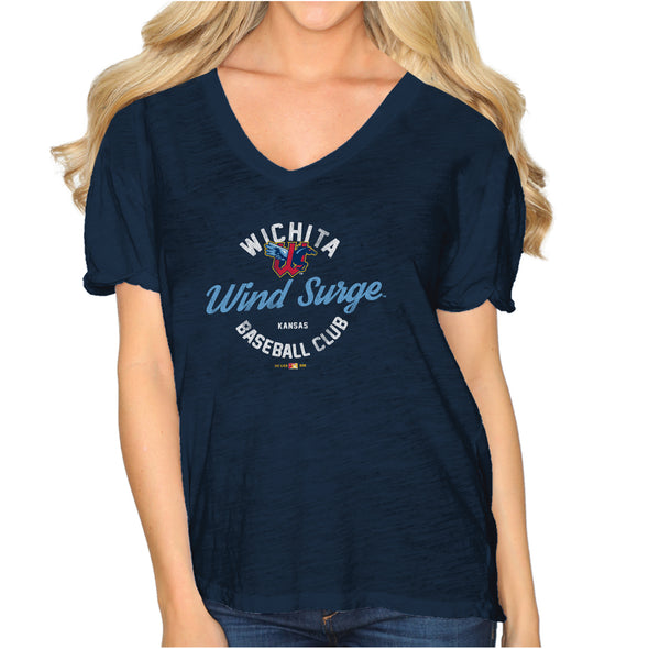 WOMENS BOYFRIEND V-NECK-NAVY