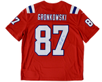 Rob Gronkowski New England Patriots Signed Red Throwback Nike Limited Jersey JSA