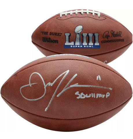 Julian Edelman New England Patriots Signed SB 53 Official Football MVP Insc JSA