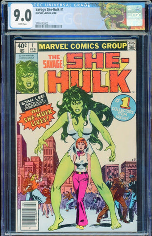 She-Hulk #1 1st Appearance Marvel 1980 White Pages CGC 9.0 VF/NM Custom Label