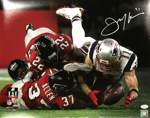 Julian Edelman New England Patriots Signed SB LI Spotlight 16x20 Photo JSA