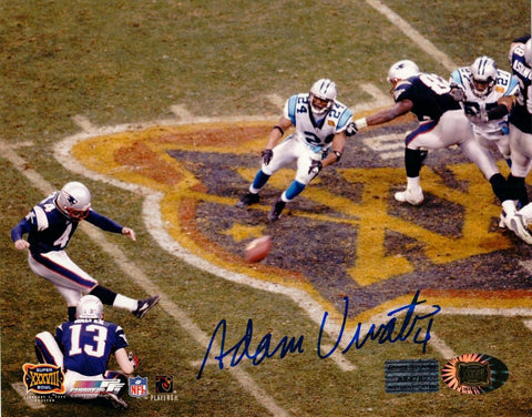 Adam Vinatieri New England Patriots Signed SB XXXVIII Kick 8x10 Photo