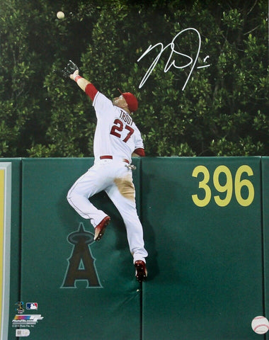 Mike Trout Los Angeles Angels Signed 16x20 Photo Wall Catch MLB Authentic COA