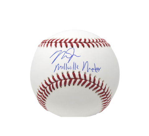 "Mike Trout Los Angeles Angels Signed OMLB Baseball ""Millville Meteor"" Insc MLB"