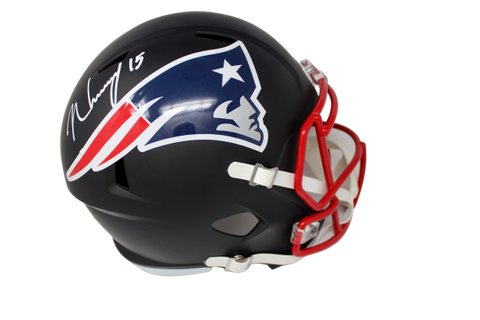 N'Keal Harry New England Patriots Signed Full Size Flat Black Replica Helmet JSA