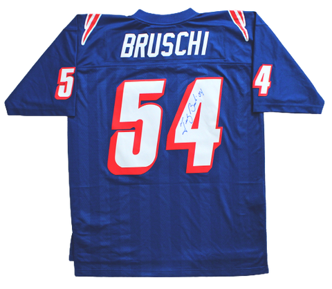 Tedy Bruschi New England Patriots Signed Royal Blue Mitchell & Ness Jersey PA