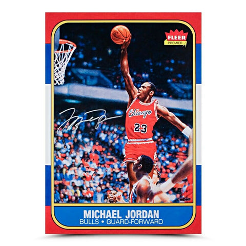 Michael Jordan Chicago Bulls Signed 1986 Fleer Blow Up Autograph 16x20 Photo UDA