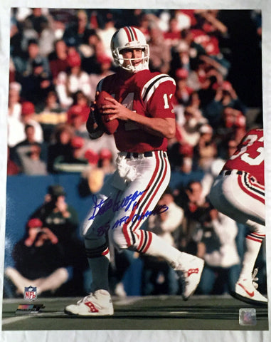 Steve Grogan New England Patriots Signed Autographed 16x20 Photo 85 AFC Champs
