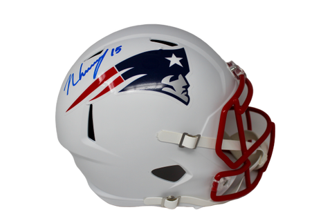 N'Keal Harry New England Patriots Signed Full Size Flat White Replica Helmet JSA
