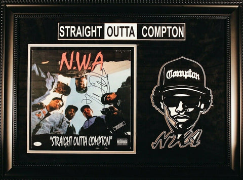 Ice Cube Straight Outta Compton Signed Vinyl Album Custom Designed Frame JSA