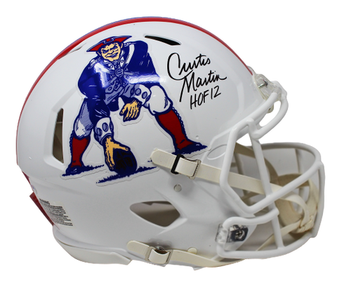 Curtis Martin NE Patriots Signed HOF 12 FS Speed Authentic Throwback Helmet PSA