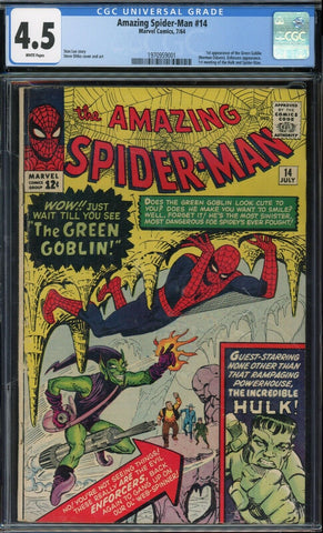 Amazing Spider-Man #14 1st GREEN GOBLIN Marvel 1964 White Pages CGC 4.5 VG+