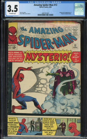 Amazing Spider-Man #13 1st MYSTERIO Marvel 1964 Off White Pages CGC 3.5 VG