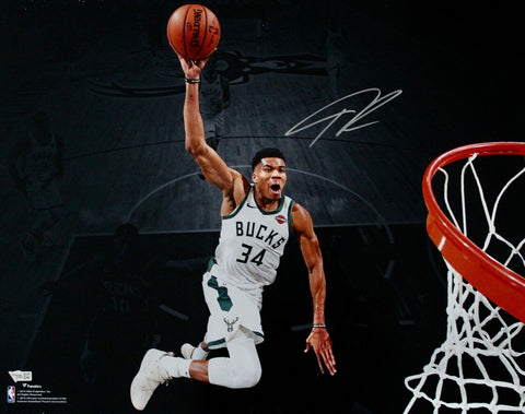 Giannis Antetokounmpo Milwaukee Bucks Signed 16x20 Spotlight Photo Fanatics