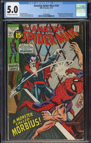 Amazing Spider-Man #101 1st MORBIUS Marvel 1971 OWH/Wh Pages CGC 5.0 VG/FN