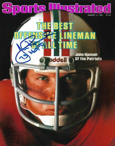 John Hannah New England Patriots Signed Autographed SI Cover 8x10 Photo HOF