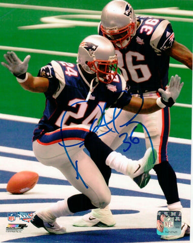 Lawyer Milloy New England Patriots Signed 8x10 Photo w/ Ty Law Pats Alumni