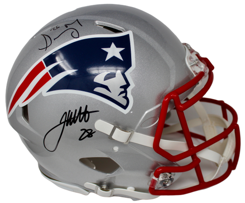 James White/Sony Michel NE Patriots FS Authentic Speed Signed Helmet Fanatics