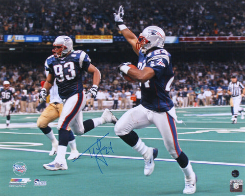 Ty Law New England Patriots Signed 16x20 Photo SB 36 Pick 6 TD Pats Alumni COA