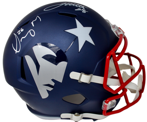 James White/Sony Michel New England Patriots Dual Signed AMP Helmet Fanatics