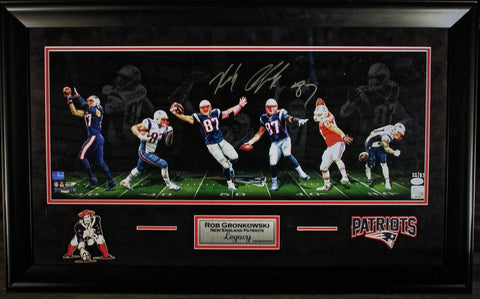 Rob Gronkowski Patriots Signed Legacy LE #/87 Panoramic 12x30 Photo Framed JSA
