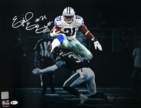 Ezekiel Elliott Dallas Cowboys Signed 16x20 Spotlight Hurdle Fanatics Photo BAS