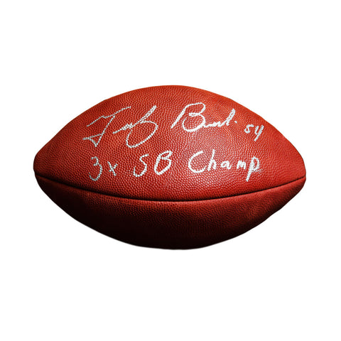 Tedy Bruschi New England Patriots Signed Official Football 3x SB Champ
