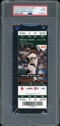 Xander Bogaerts Boston Red Sox 2013 vs Giants MLB Debut Ticket PSA 10 Gem Mint