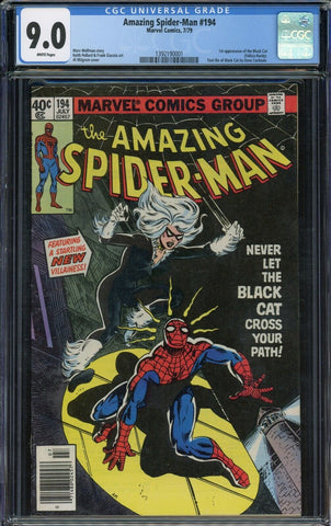 Amazing Spider-Man #194 1st App BLACK CAT Marvel 1979 White Pages CGC 9.0 NM+