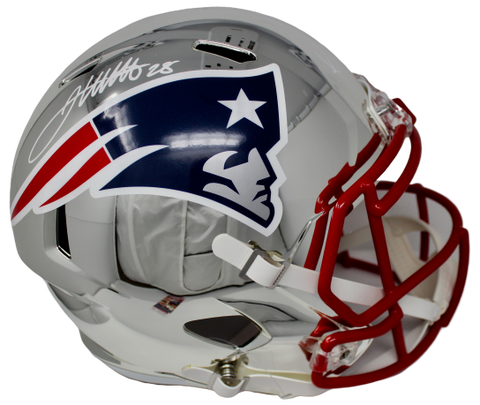 James White/Sony Michel New England Patriots Dual Signed Chrome Helmet Fanatics