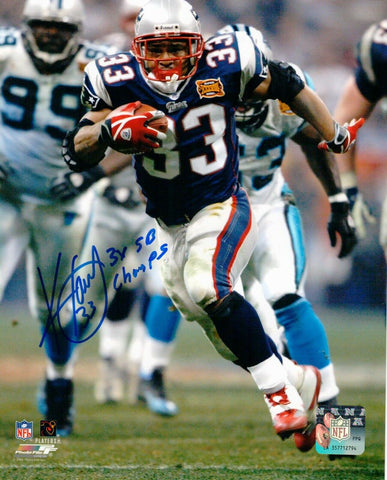 Kevin Faulk New England Patriots Signed Autograph 3x Insc 8x10 Photo Pats Alumni