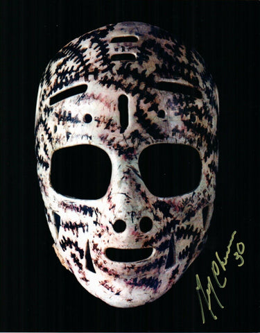 Gerry Cheevers Boston Bruins Signed 8x10 Photo The Mask Goalie Yellow Pen JSA