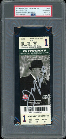 Julian Edelman New England Patriots Signed NFL Debut Ticket Stub PSA 10 Auto